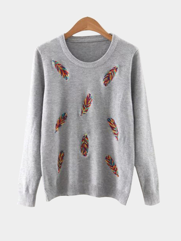 Grey Embroidery Pattern Front Round Neck Knitwearr