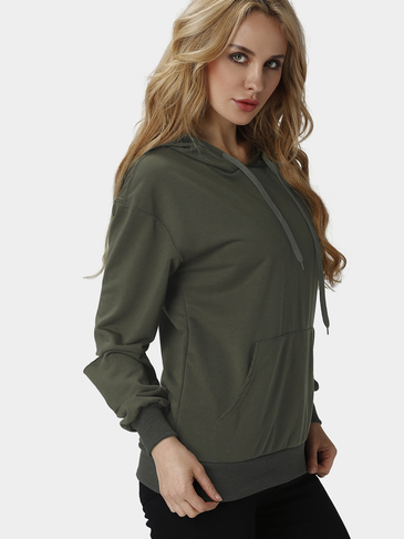 Plain Army Green Color Hooded Long Holes Sleeves Sweatshirt