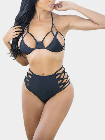 Black Bandage Design Backless Cut-out Bikini