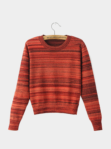 Long Sleeve Cropped Sweater in Orange