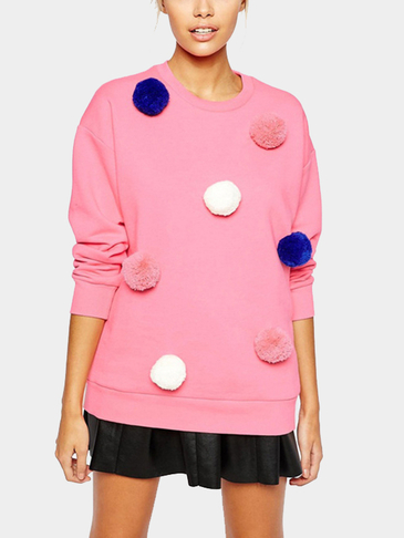 Pink Long Sleeves Fur Ball Decorations Sweatshirt