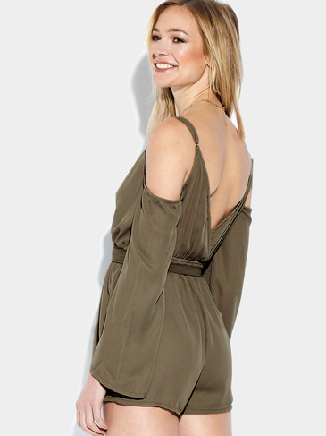 Plunge V-neck Cold Shoulder Playsuit