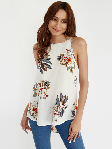 White Floral Print Round Neck Irregular Hem Sleeveless Camis