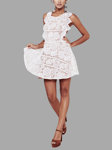 Lace Sleeveless Open Back Crisscross Mini Dress