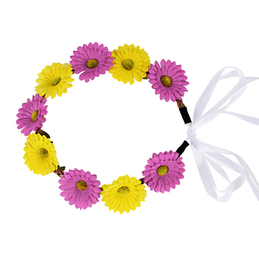 Pastoral Wreath Straw Tying Headband in Daisy