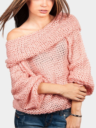 Loose Pink Roll Neck Cut Knitwear