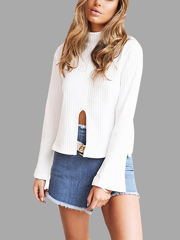 Turtleneck Splited Bell Sleeves Knitted Top In White