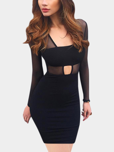 Black Sexy See-through Hollow Mesh Details Midi Dress