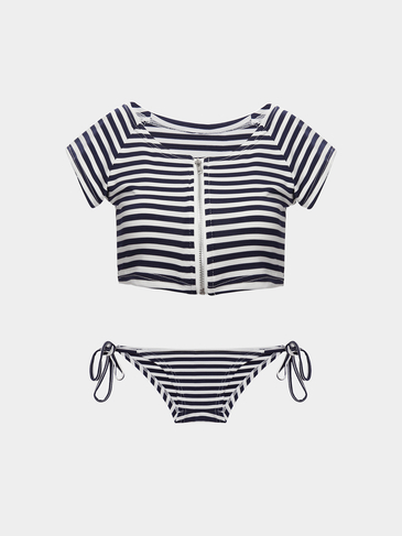 Navy Style Stripe Pattern Zip Back Top And Tie Side Bottom Bikini Set