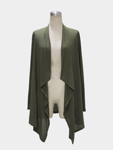 Army Green Long Sleeve Wasserfall Cardigan