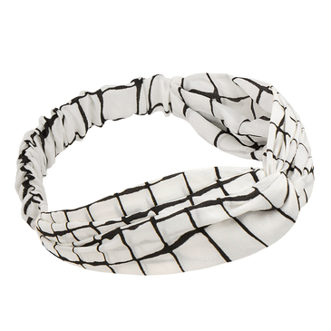 White Grid Knotted Headband