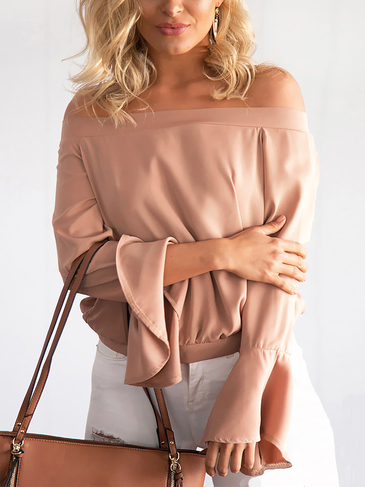 Sexy Off-Schulter Flared Sleeves Bluse