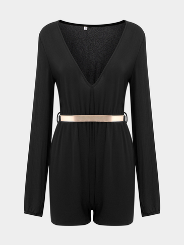 Black Plunge Waistbelt Playsuit