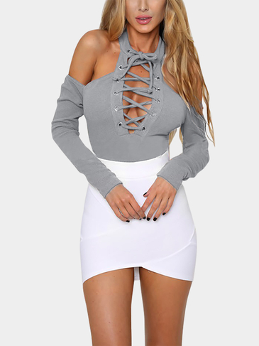 Grey Sexy Cold Shoulder Lace-up Bodysuit