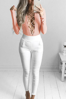 Pink Sexy V Crossed Front Design Bodysuits