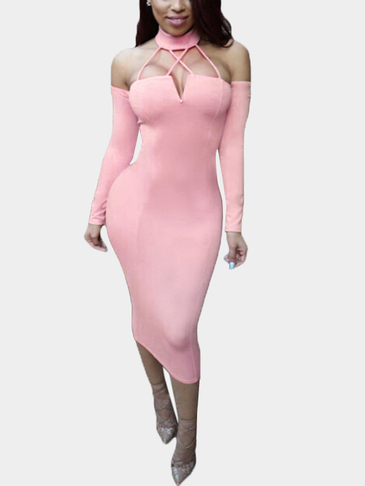 Pink Bodycon Lace-up Cut Out Halter Party Dress With Oversleeves