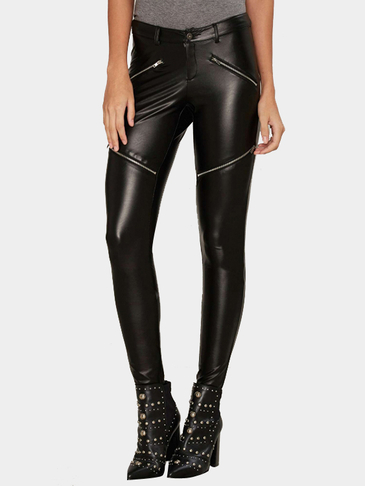 Fahion Black Artificial Leather Zipper Skinny Pants
