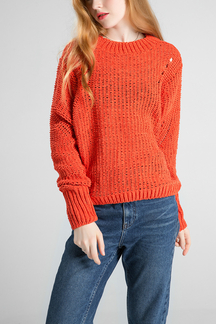Brick-red Crew Neck Knitted Jumper
