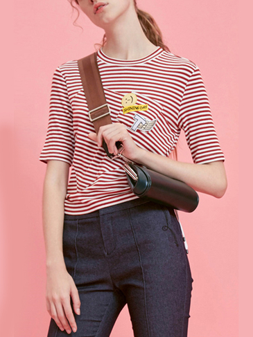 Fashion Round Neck Stripe Pattern Lace-up T-shirt