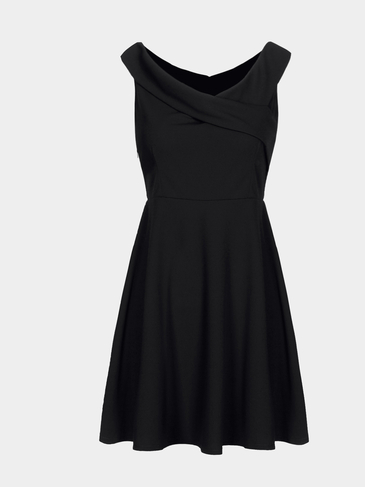 Black Cross Design Pleats A Line Dress