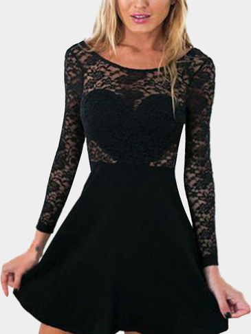 Black Lace Details Pleated Hem Backless Dress with Bowknot