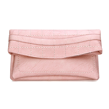 Pink Leather-look Fold Over Clutch Bag with Allover Seam Detail