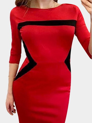 Red Round Neck Contrast Bodycon Dress with Zipper Back