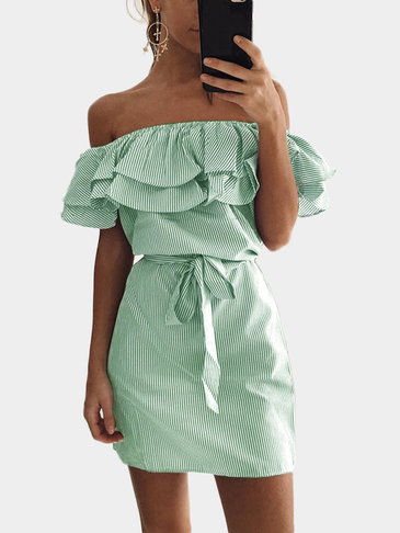 Green Off Shoulder Stripe Pattern Flouncy Details Dress