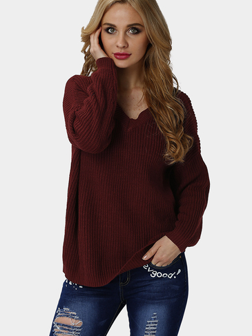 Bourgogne Loose V-neck Long Sleeves Cut V Shape Back Jumper