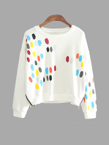 Fashion White Colorized Dot Sweatshirt With Sideling Zip