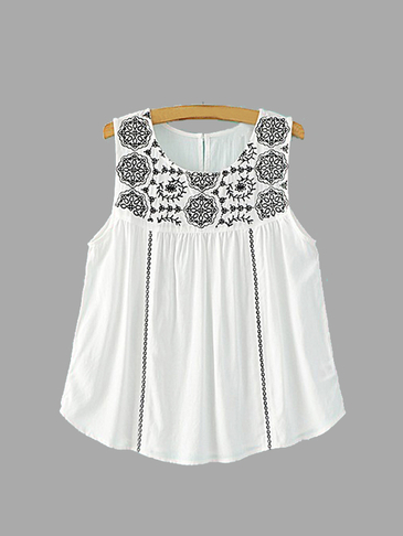 Round Neck Sleeveless Embroidery Pattern Top