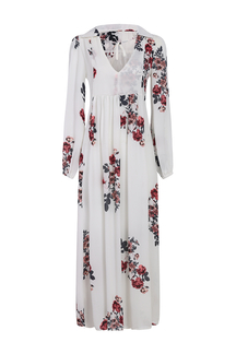 Loose See-through Chiffon Random Floral Pattern Maxi Dress