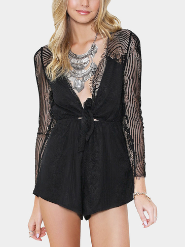 Tie Front Eyelash Lace Playsuit