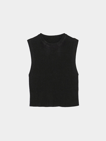 Black Sleeveless Crop Top in Knit