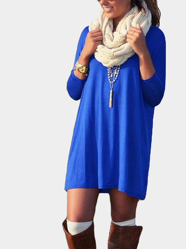 Blue Casual manches longues mini robe