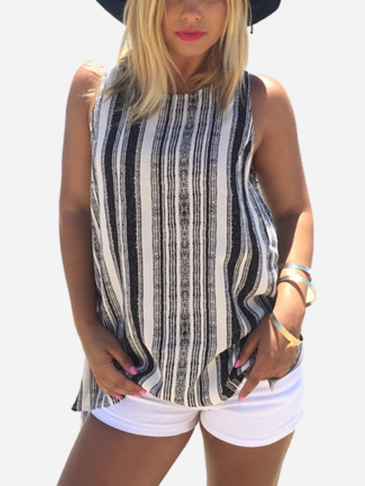 Stripe Pattern sans manches Top col rond
