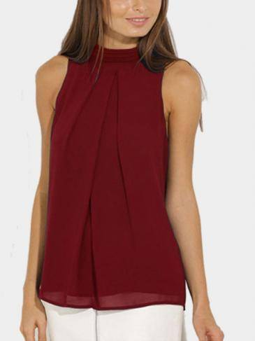 Burgundy High Neck Open Back Pleated Chiffon Vest
