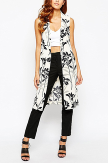 Floral Print Gilet with Side Splits