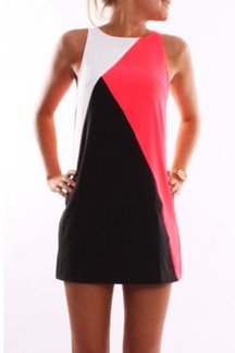 Sleeveless Design Round Neck Contrast Color Mini Dress