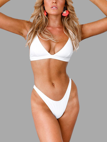 White Deep V Neck Adjustable Shoulder Strap Bikini Set