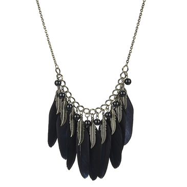 Black Feather and Leaf Pendant Necklace with Artificial Black Pearl