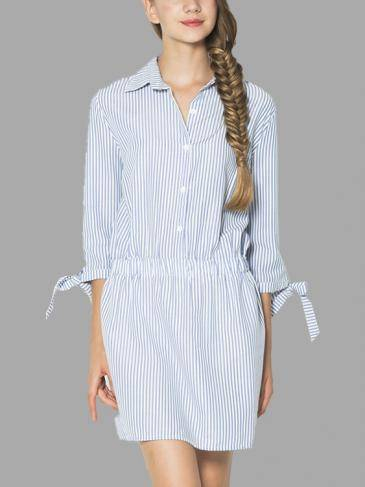 Bowknot Sleeve Stripe Shirt Dress