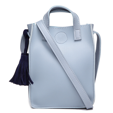 Greyish Blue Fashion Shoulder Bag With Blue Tassel