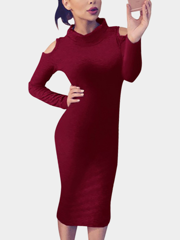 Perkins Collar Cold Shoulder Bodycon Dress in Red