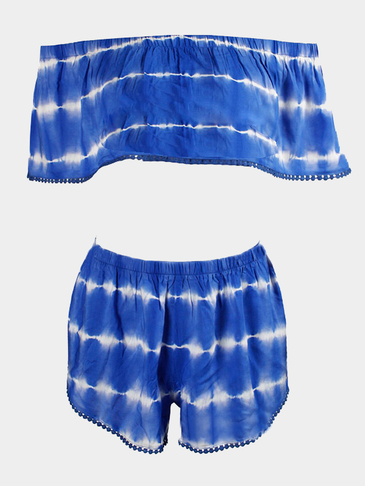 Blue Tie-dye Pom Pom Off Shoulder Crop Top Co-ord