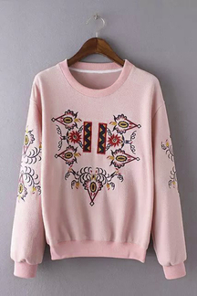Pink Casual Embroidery Floral Pattern Sweatshirt