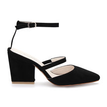 Black Pointed Toe Single Strap Over Ladies Heels