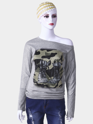 Grey One Shoulder Camouflage Pattern Long Sleeves Top