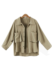 Plus Size Khaki Shirt Coat