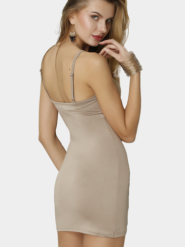 Light Brown Cami Bodycon Mini Dress